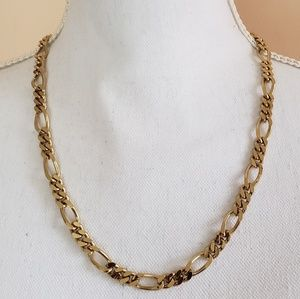 Vintage Chunky Goldtone Figaro Chain Necklace 21""